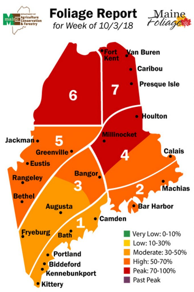 Central and southern Maine are approaching prime time to see fall foliage, said Gail Ross, of the Maine Department of Agriculture, Conservation and Forestry. She expects this year will be a typical year for dazzling colors.