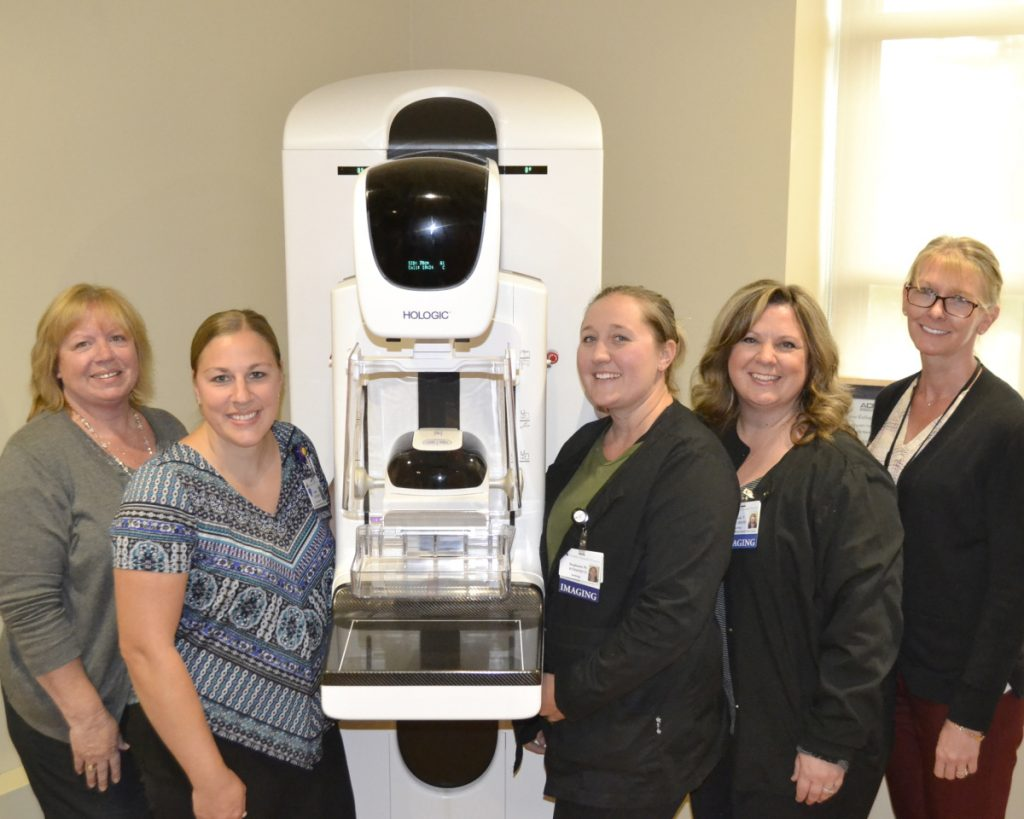 Radiology technologists who recently completed training on the new mammography system at the Martha B. Webber Breast Care Center include, from left, Sue Dalrymple, Ashley Quirion, Stephanie MacDonald, Cindy True and Peggy Schmidt.