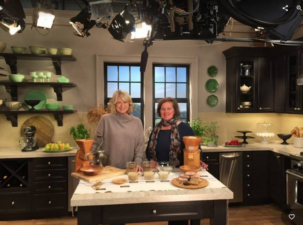 Amber Lambke, of Skowhegan, poses on the set in New York with Martha Stewart during the recent taping of a television show to be broadcast this fall.