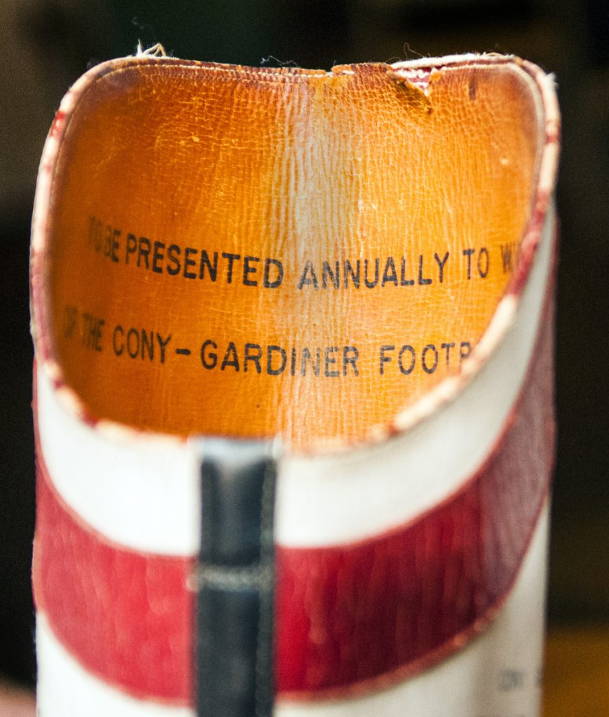 The winner of the annual Cony-Gardiner football game gets to keep the boot for the year.