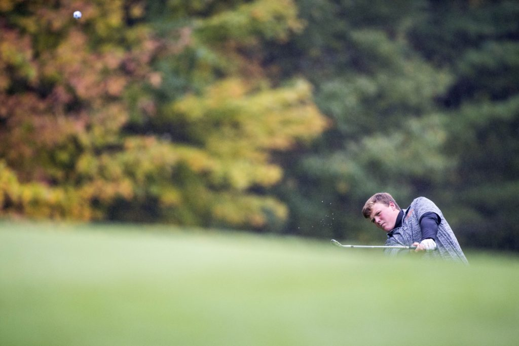 Staff photo by Michael G. Seamans   Gardiner's Cody Rizzo follows his shot from the 15th green at Natanis Golf Course in Norridgewock on Oct. 2.
