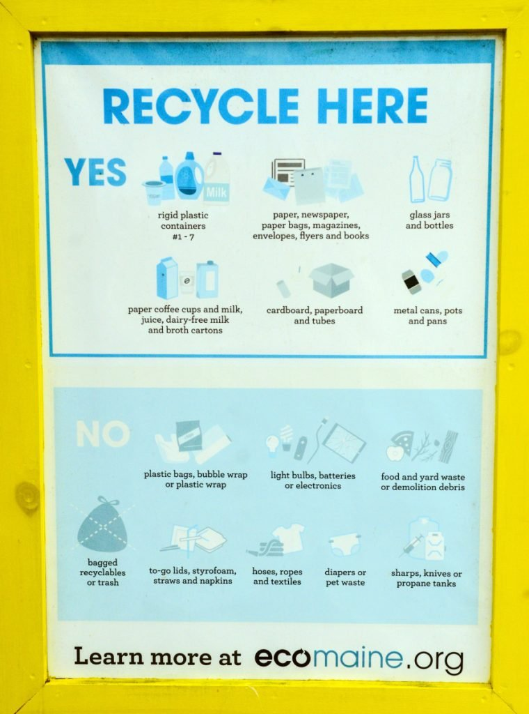 The ecomaine sign explains what to put into the recycle bin on Friday at the Readfield Transfer Station.