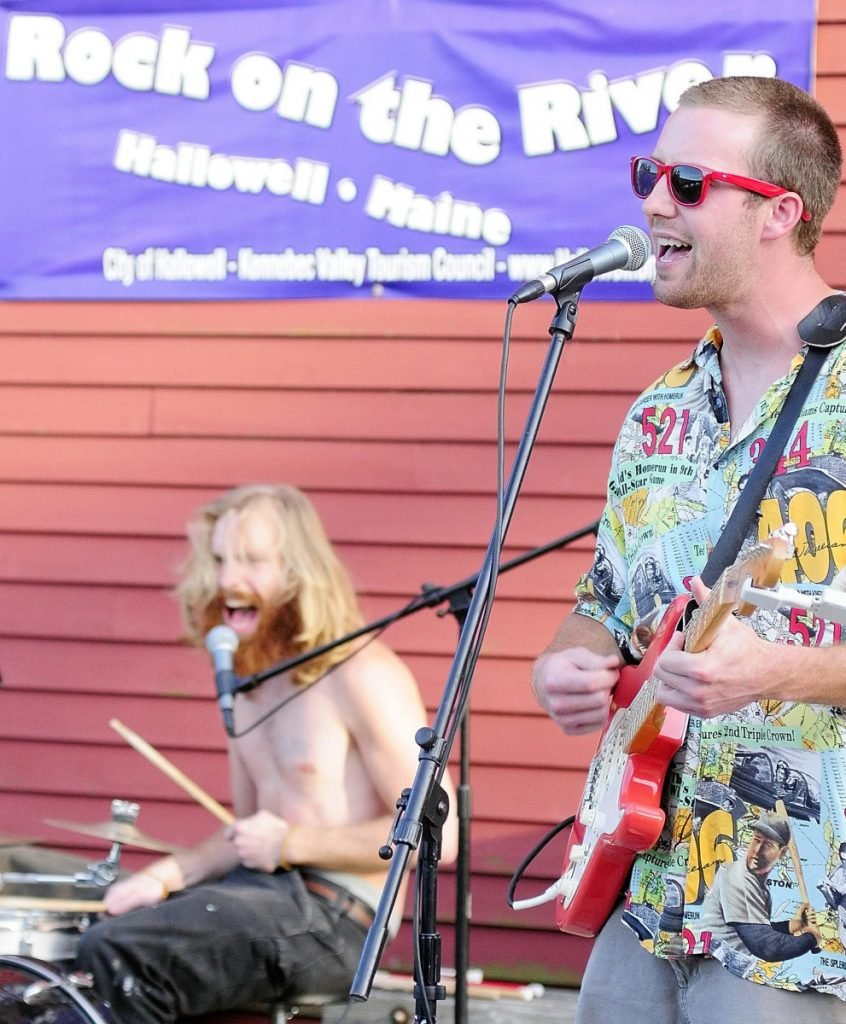 Josh Shain, left, and Sam Shain performing with Sam Shain and the Scolded Dogs June 14, 2012, on Hallowell's bandstand as part of the weekly Rock On The River concert series.