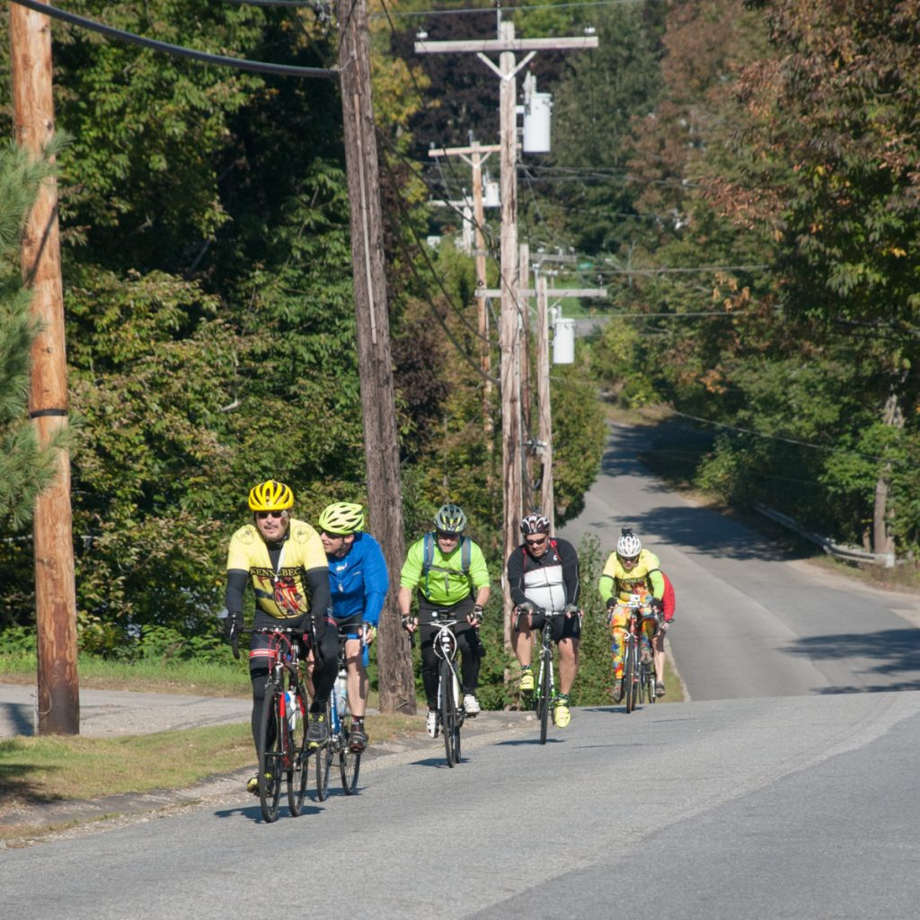 Joseph Lacroix, of Windsor, leads the way up Main Street in Coopers Mills near the Sheepscot Valley Health Center. Share The Road With Carol is a memorial bike ride in Windsor and Whitefield held to honor the memory of Jeffrey Frankel's late wife, Carol Eckert, M.D., and to promote the cause of bicycle safety.