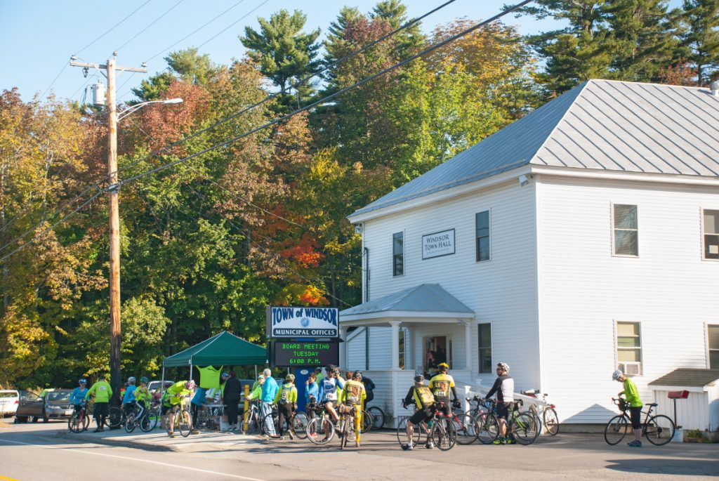Riders gather at the Windsor town office at the start of the ride. Share The Road With Carol is a memorial bike ride in Windsor and Whitefield held to honor the memory of Jeffrey Frankel's late wife, Carol Eckert, M.D., and to promote the cause of bicycle safety.