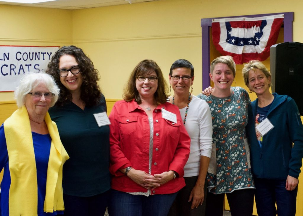 "Six women from across New England participated in the ""Power of Women in Politics in 2018: Voting, Running, Resisting"" panel discussion at the LCDC monthly meeting on Sept. 26. From left are MaryRae Means, Molly Cowan, Kelli Whitlock Burton, Eliza Townsend, Cait Vaughan and Shannon Carr, MD."