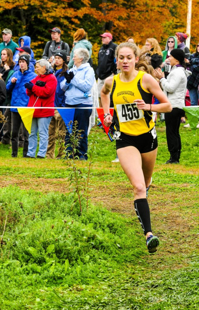 Maranacook's Molly McGrail runs in the Kennebec Valley Athletic Conference championship meet last Saturday at Cony High School in Augusta.