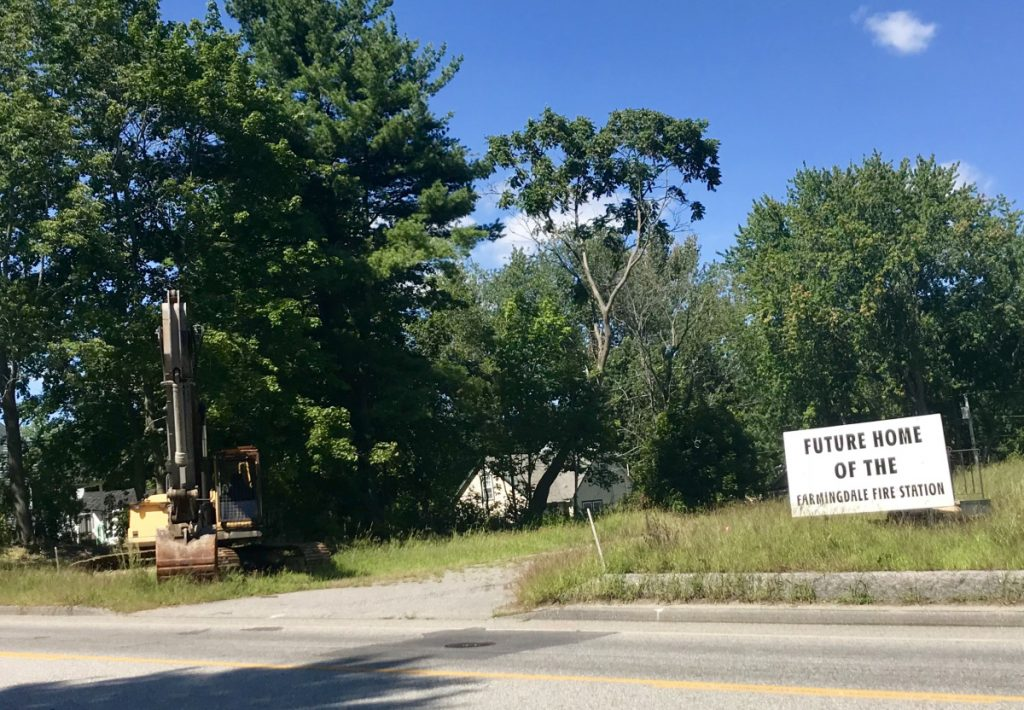 The town bought the future home of the Farmingdale fire station, now a vacant lot, for $190,000.
