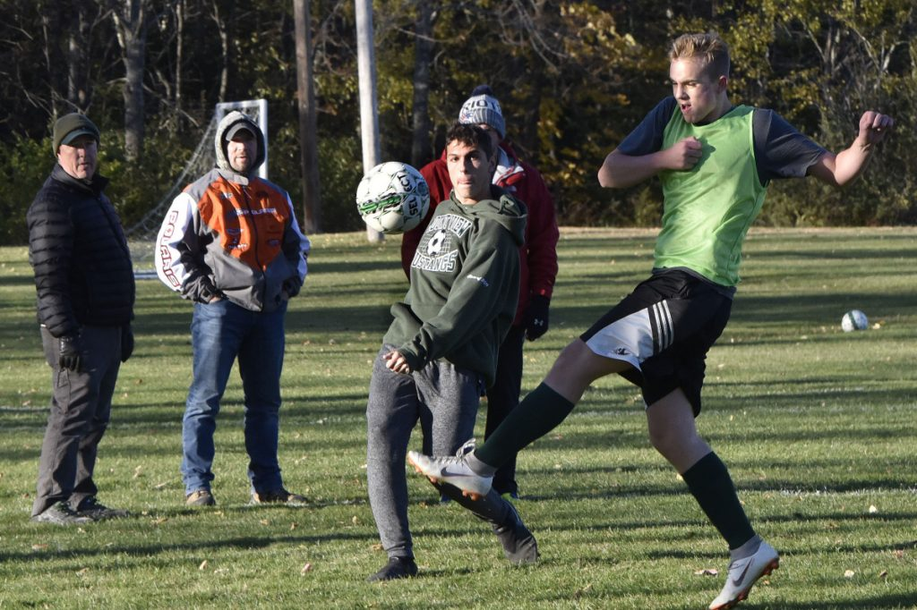 Mount View  soccer players Matt Overlock, left, and Jackson Martin practice Monday in Thorndike.