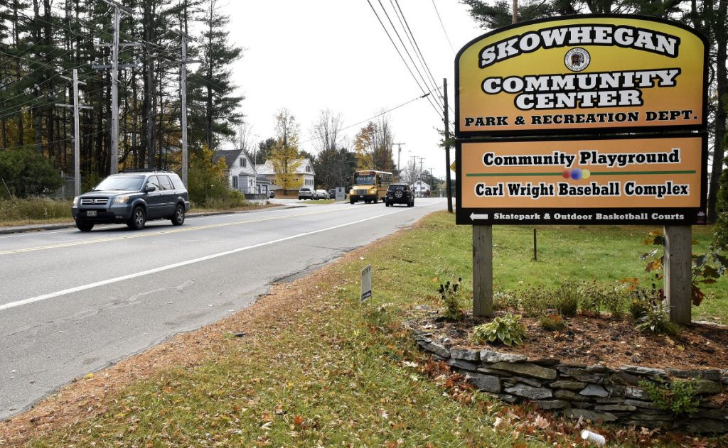 Traffic flows Tuesday on U.S. Route 2 in Skowhegan past the intersection that leads to the Skowhegan Community Center. Selectmen have approved the solicitation of bids on a contract to widen the highway there and create a bypass extension lane to ease traffic congestion.