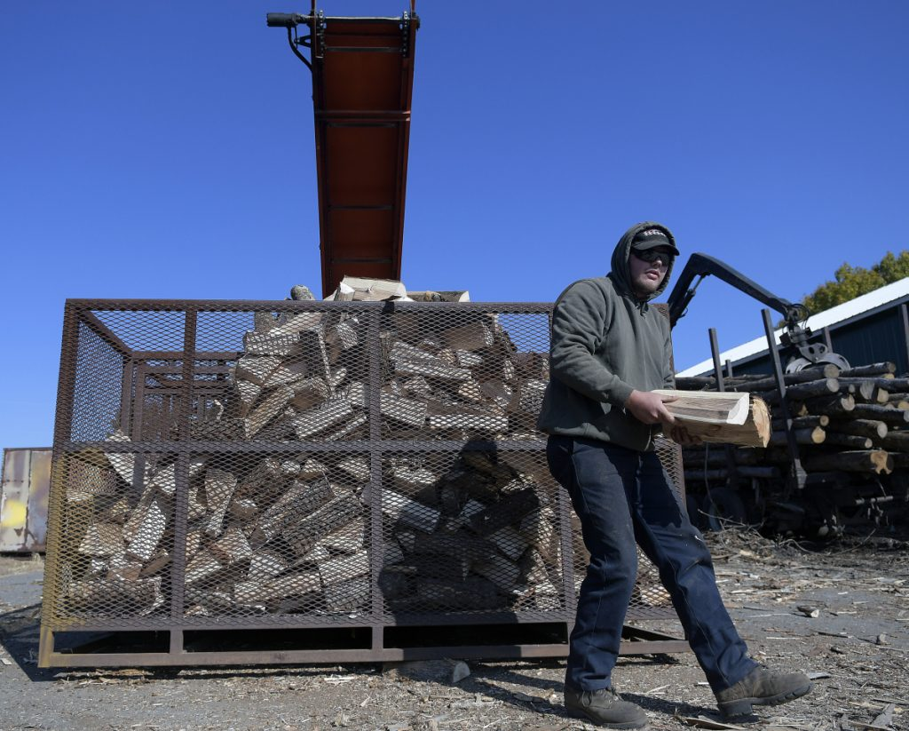 Jake Allen collects stray logs while processing wood Tuesday at A.W. Allen Firewood, the Farmingdale business he operates with his father.