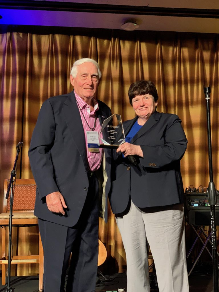 Sam Shapiro receives the President's Special Recognition Award from Beth Pearce, Vermont state treasurer and president of the National Association of State Treasurers, at the organization's annual conference in Scottsdale, Arizona, earlier this month. Shapiro served as Maine state treasurer from 1980 through 1997 and has attended the association's meetings for 37 years.