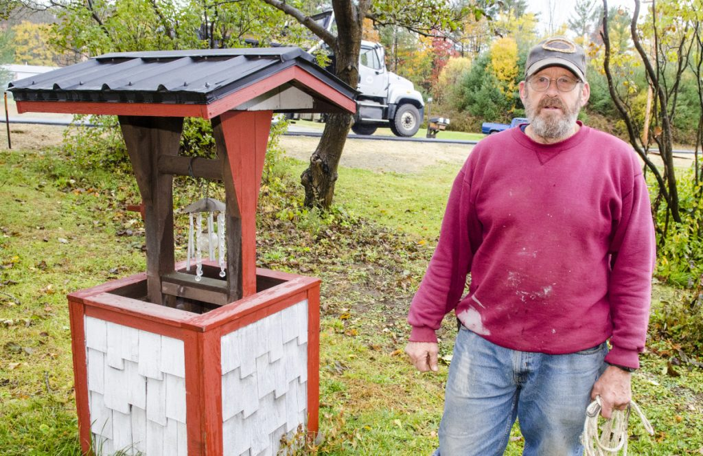 David H. Riddle talks about his well during an interview Wednesday at his Oakland Road home in Belgrade.