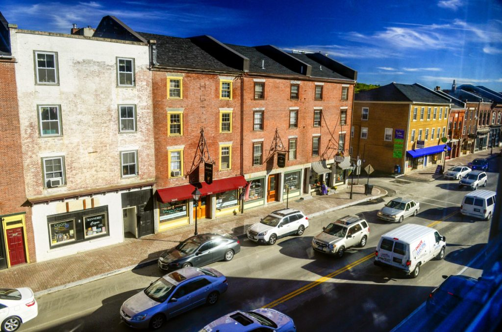 Traffic flows Oct. 5 on Water Street in downtown Hallowell. Officials are discussing a proposal to change the city's noise ordinance to permit an increase to the allowed decibel levels on the weekends.