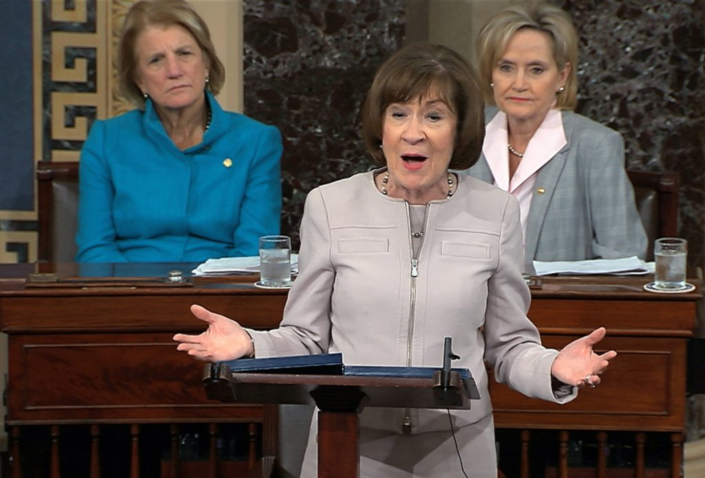 In this image from video provided by Senate TV, Sen. Susan Collins, R-Maine., speaks on the Senate floor about her vote on Supreme Court nominee Judge Brett Kananaugh on Friday in the Capitol in Washington.