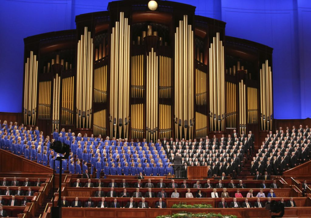 The Mormon Tabernacle Choir performs during the twice-annual conference of The Church of Jesus Christ of Latter-day Saints in Salt Lake City on March 31.