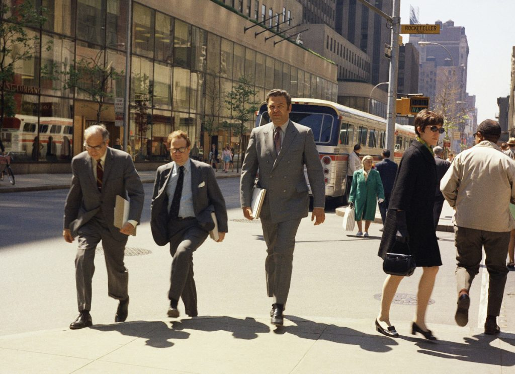 Rockefeller Plaza buzzes at lunch hour in New York in this file photo from May 29, 1969. The government reported Friday that the jobless rate is at its lowest level since the 3.5 percent it reached 49 years ago. And the strength looks likely to endure. There are a record number of open jobs, consumers are confident and economic growth has been brisk.