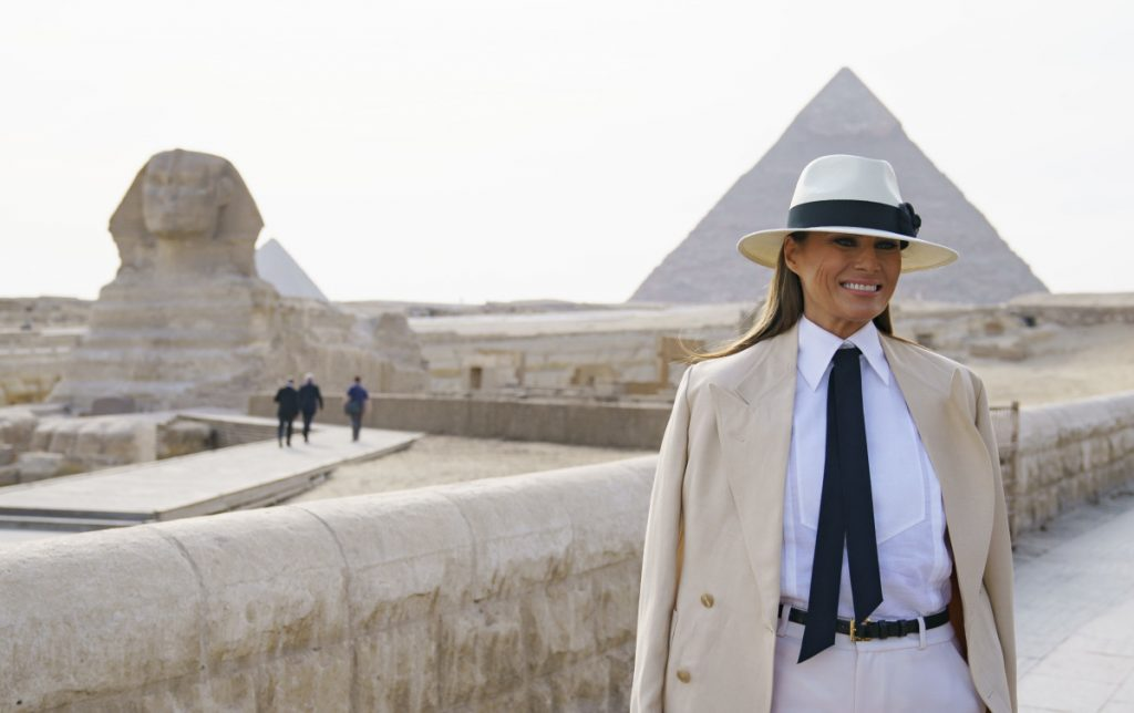 First lady Melania Trump visits the ancient statue of the Sphinx at the historic site of the pyramids in Giza, Egypt, on Saturday.