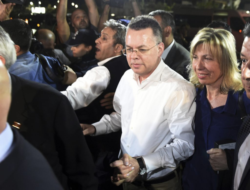 Pastor Andrew Brunson and his wife arrive at Adnan Menderes airport for a flight to Germany after his release following his trial in Turkey.