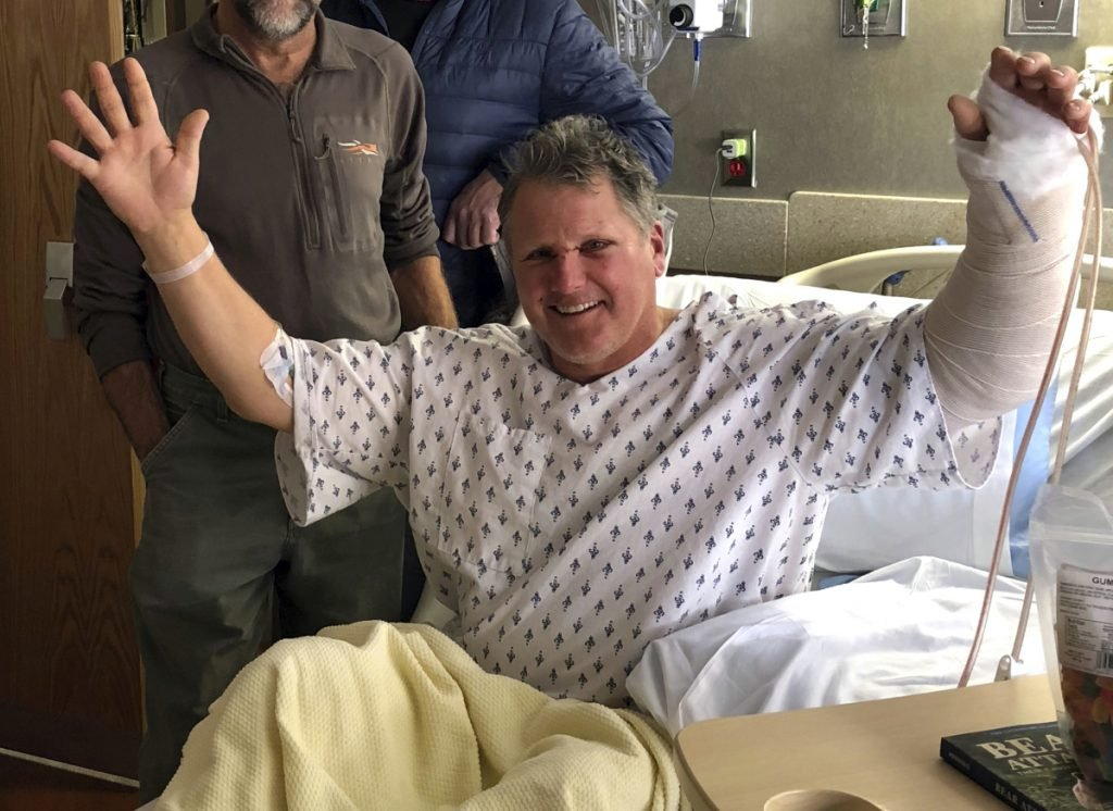 Bob Legasa recovers in Bozeman, Montana, on Sunday after a bear attack the day before.