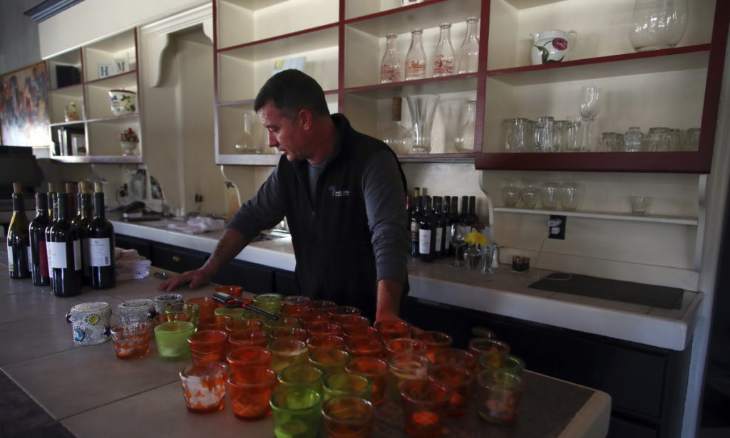 Chef Kevin Kathman at All Seasons in Calistoga, Calif., talks on Monday about the potential costs of power being shut off.