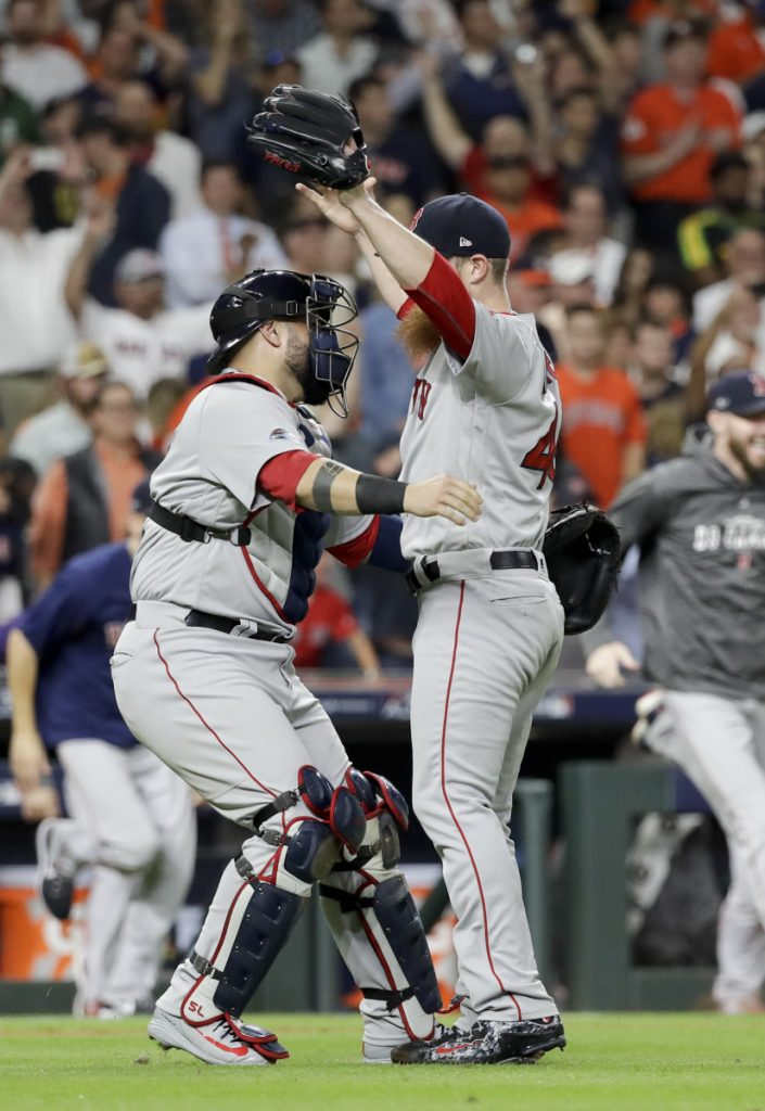 Craig Kimbrel, celebrating with catcher Sandy Leon after the victory that put the Red Sox into the World Series, has been an adventure throughout the playoffs. Yet the bend-but-not-break principle just keeps working.