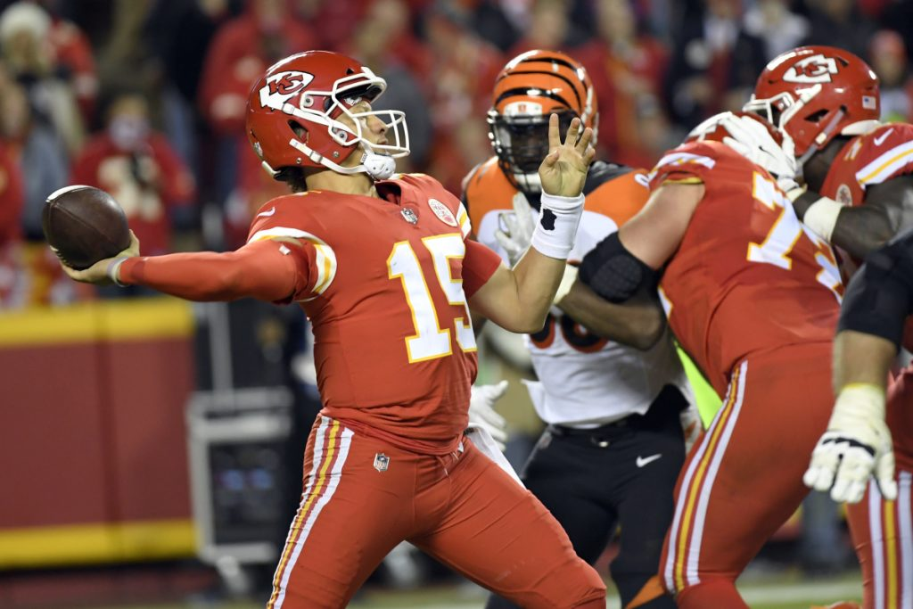 Kansas City quarterback Patrick Mahomes throws a pass during the second half against the Cincinnati Bengals in Kansas City on Sunday night. The Chiefs won, 45-10.