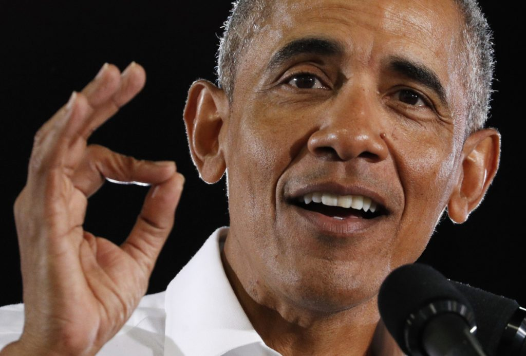 Former President Barack Obama speaks at a rally in support of Senate candidate Jacky Rosen and other Nevada Democrats on Monday in Las Vegas.