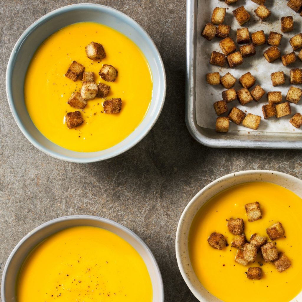 Creamy Butternut Squash Soup serves four to six people.