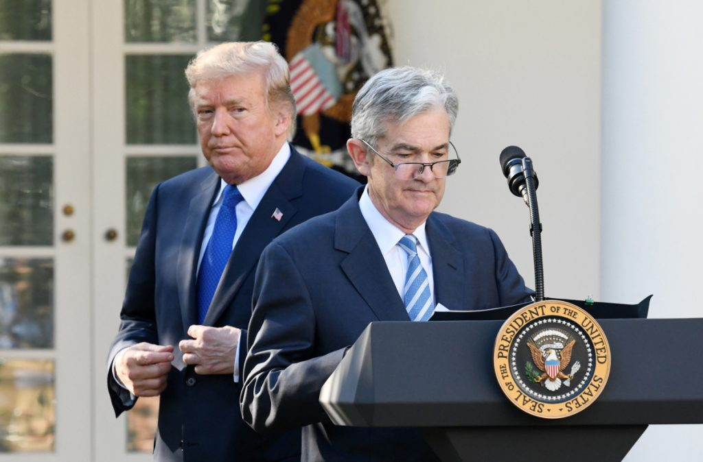 "Since July, President Trump has publicly slammed the Fed and Chair Jerome Powell, above, for interest-rate hikes, saying last month he was ""not happy."""