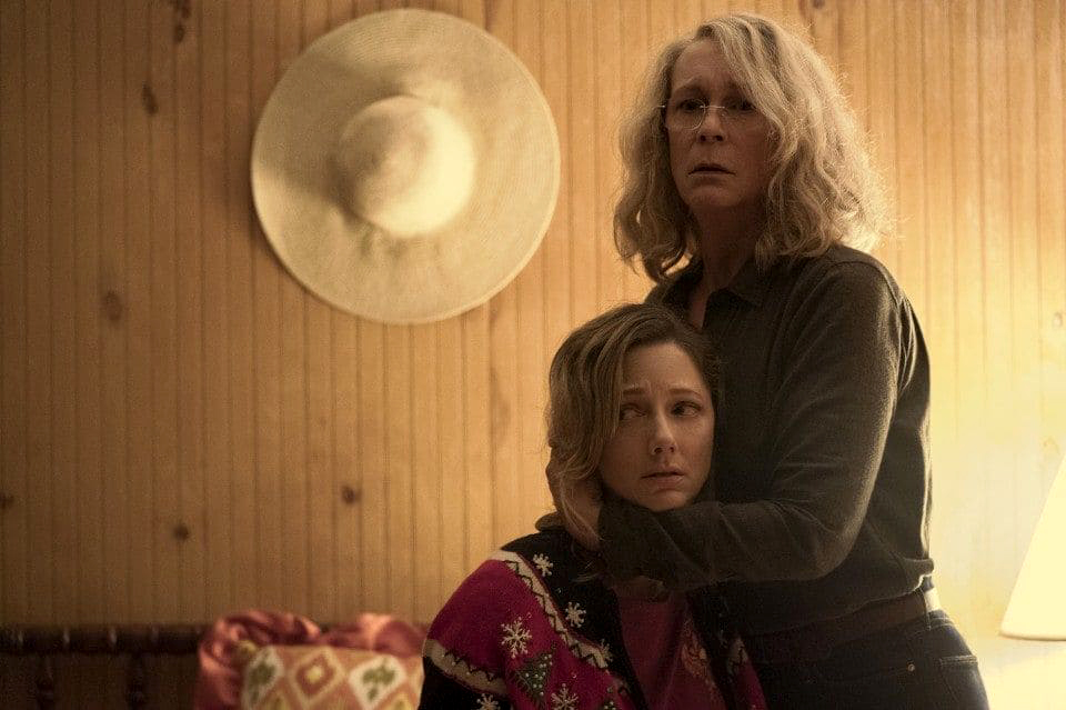 "Jamie Lee Curtis tries to protect Judy Greer in ""Halloween."""