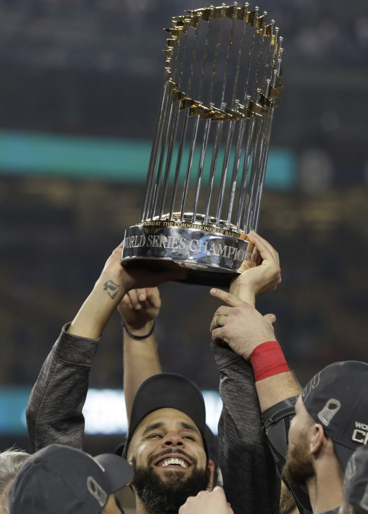 Finally for David Price, the biggest reason of all to smile. After all those postseason problems, and all those questions about them, he showed what he could do. And when it was over, the biggest thrill of all … raising the title trophy.