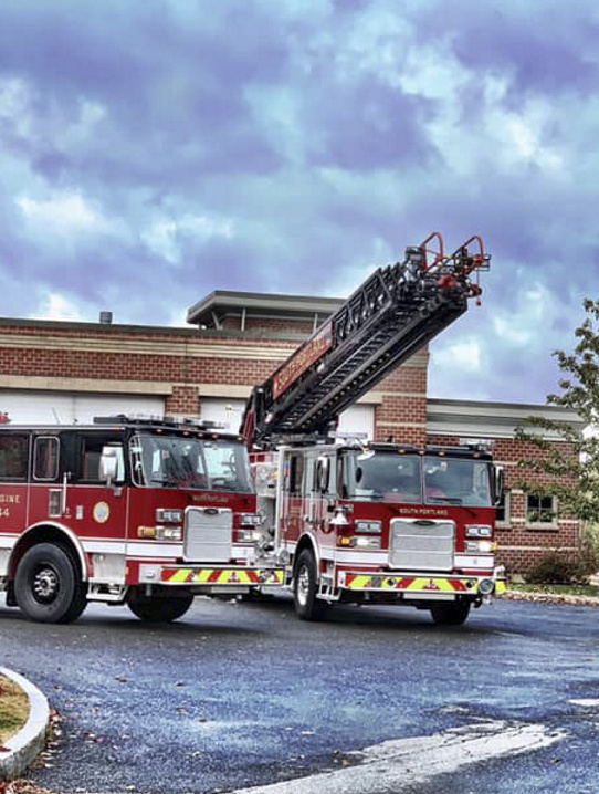 The South Portland Fire Department's new ladder truck, right, was damaged during a training exercise on Oct. 30, 2018.