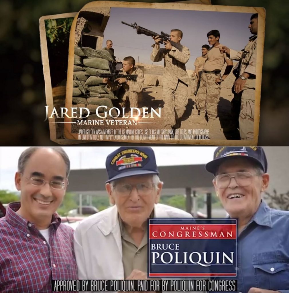 Top, a screen shot from one of Democratic congressional hopeful Jared Golden's campaign commercials. Bottom, a screen shot from a television advertisement by U.S. Rep. Bruce Poliquin's campaign this fall.