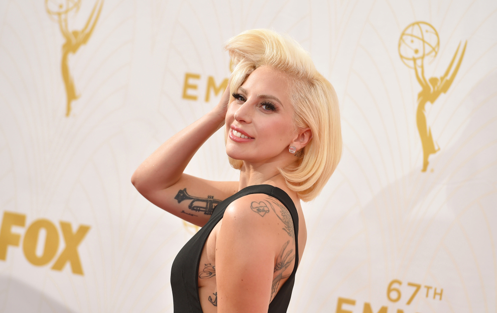 """Lady Gaga thanked her """"fiance"""" Christian Carino as she finished a speech Monday night."""