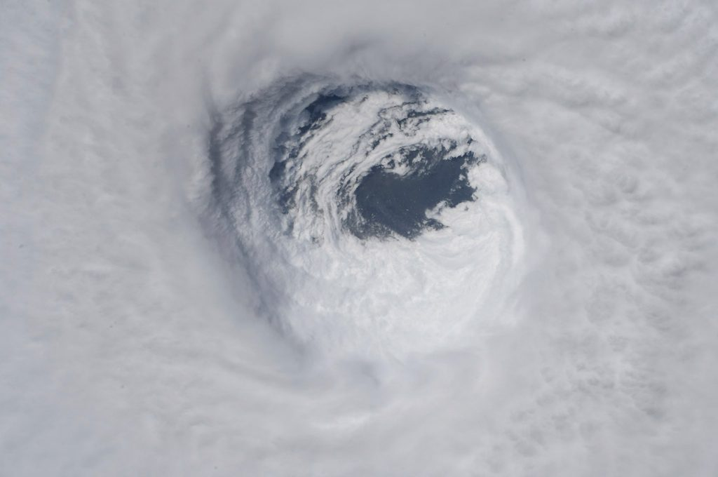 The eye of Hurricane Michael is seen from the International Space Station on Wednesday.