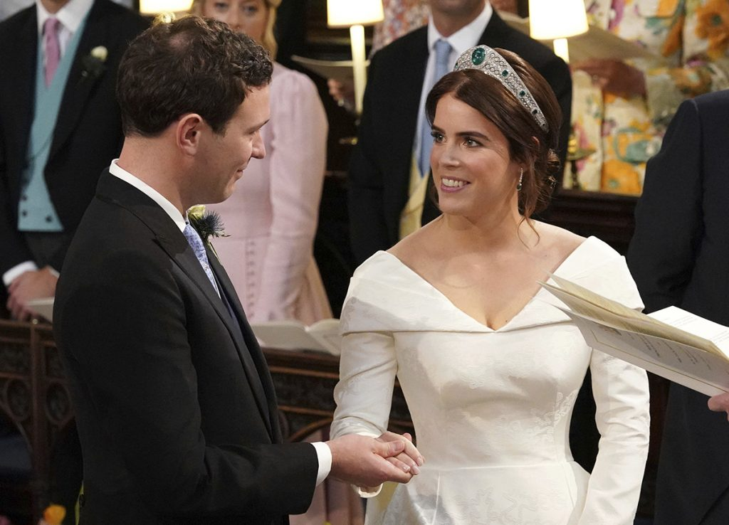 Princess Eugenie of York and Jack Brooksbank during their wedding ceremony at St George's Chapel, Windsor Castle, near London, England, Friday Oct. 12, 2018.