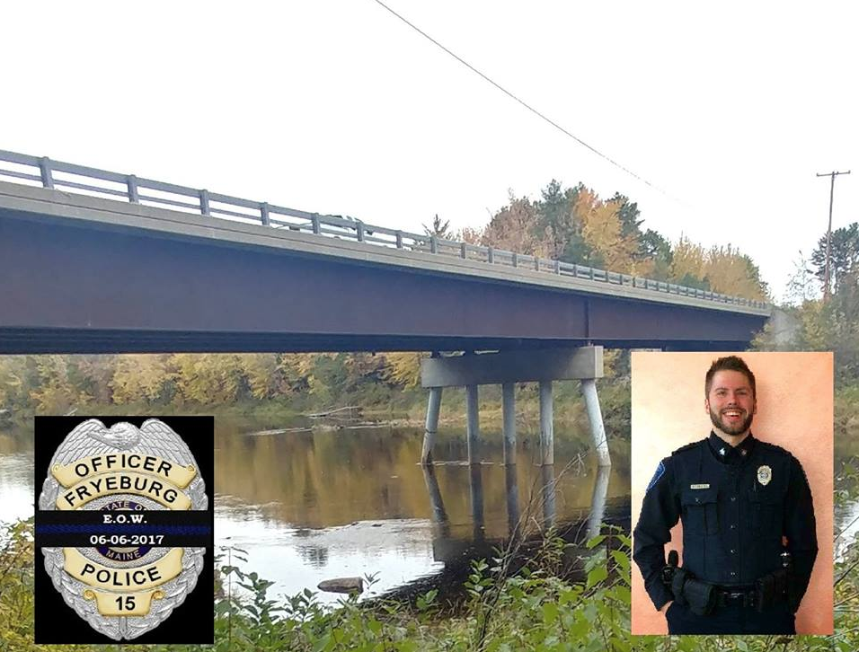 The Canal Bridge, which carries traffic over the Saco River, will be renamed the Officer Nathan Desjardins Memorial Bridge. Desjardins, shown in inset photo, died helping to execute a water rescue in 2017. (Photo courtesy of Fryeburg Police Department}