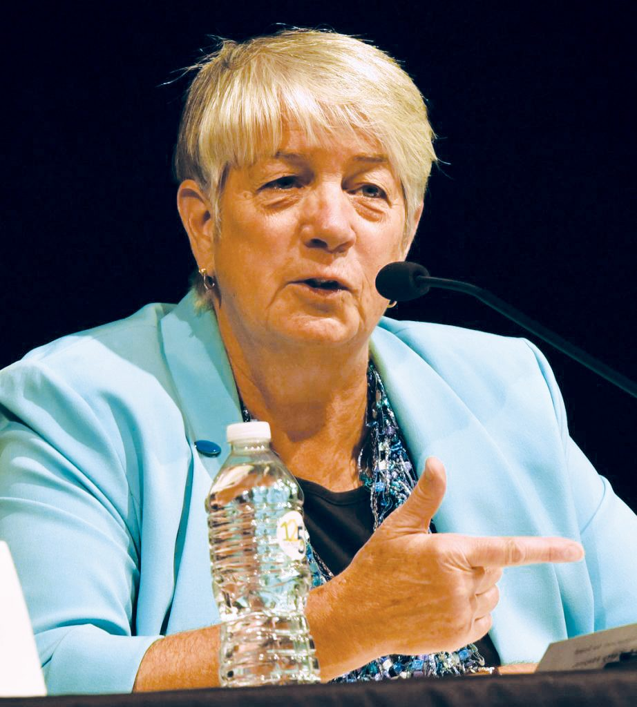 Independent Terry Hayes gave her views on topics during a Maine gubernatorial debate at Thomas College in Waterville on Thursday.