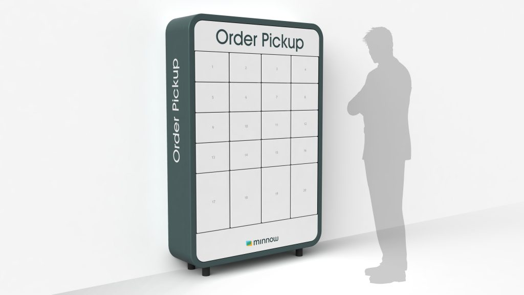 """Minnow produces self-service """"pickup pods"""" that look like high-tech storage lockers for restaurant take-out orders. Customers are notified via a free mobile app when their order is ready, and each internet-connected pod stores one order securely until the customer arrives to pick it up."""