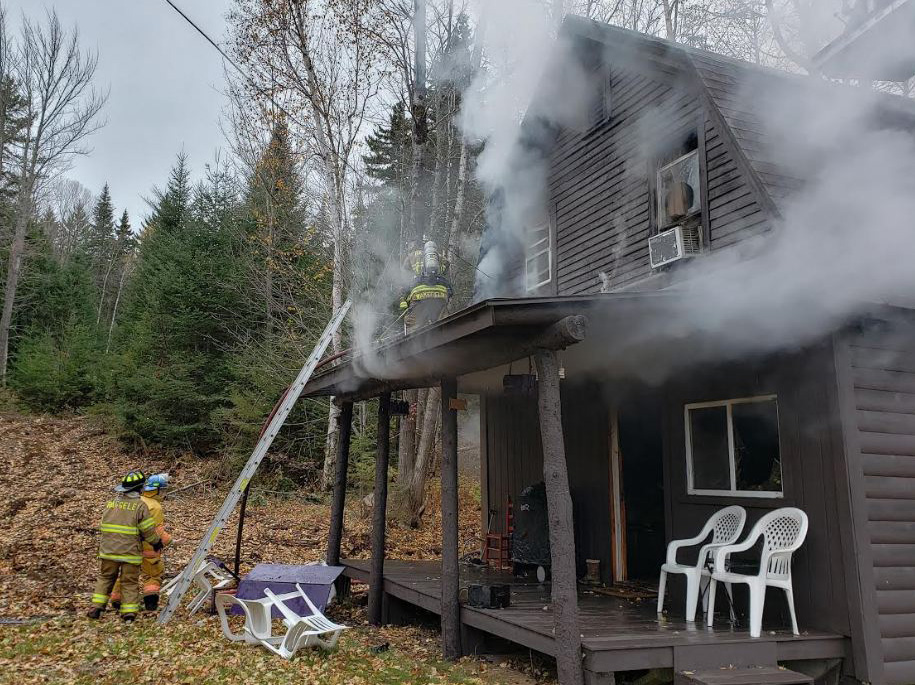 David O'Brian's hands were burned Tuesday when he tried to put out an accidental fire at his camp  in Sandy River Plantation.