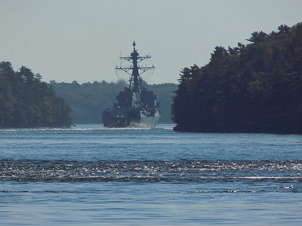 The USS Thomas Hudner clears Bluff Head in Arrowsic on its way out to sea, in this photo taken by Arrowsic resident Paul Kalkstein. ()