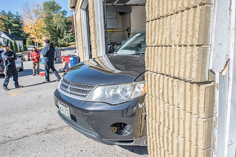 A vehicle crashed into the exit wall of Prompto in Auburn, after the driver apparently accidentally hit the gas pedal instead of the brake on Friday afternoon in Auburn.