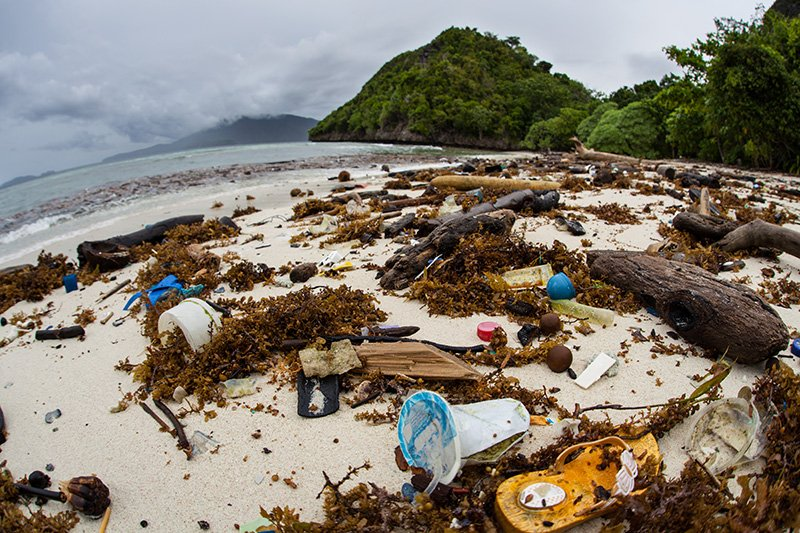 Plastic garbage has washed up on a remote beach in Raja Ampat, Indonesia.