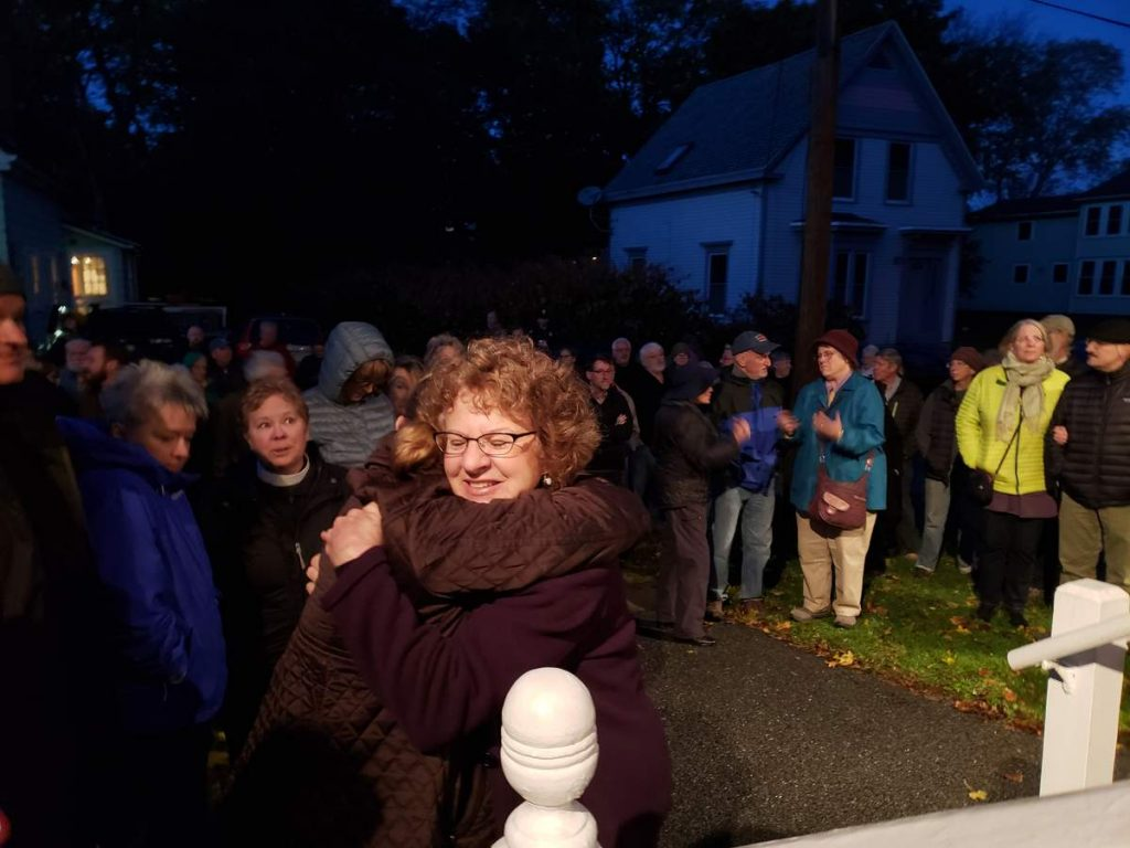 Hundreds gathered outside the Adas Yoshuron Synagogue in Rockland in remembrance of those killed at the Tree of Life Synagogue in Pittsburgh.