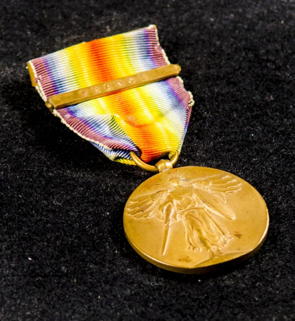 William Thomas Hawkens' World War i Victory Medal is photographed Saturday in the Cultural Building in Augusta. Pamela Poisson brought in several items related to her grandfather William Thomas Hawkens' time in the Army.