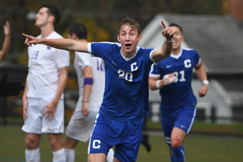 Colby's Jared Wood celebrates after the Mules scored a goal during a 3-1 victory over Amherst in a New England Small College Athletic Conference semifinal game Saturday in Amherst, Massachusetts.