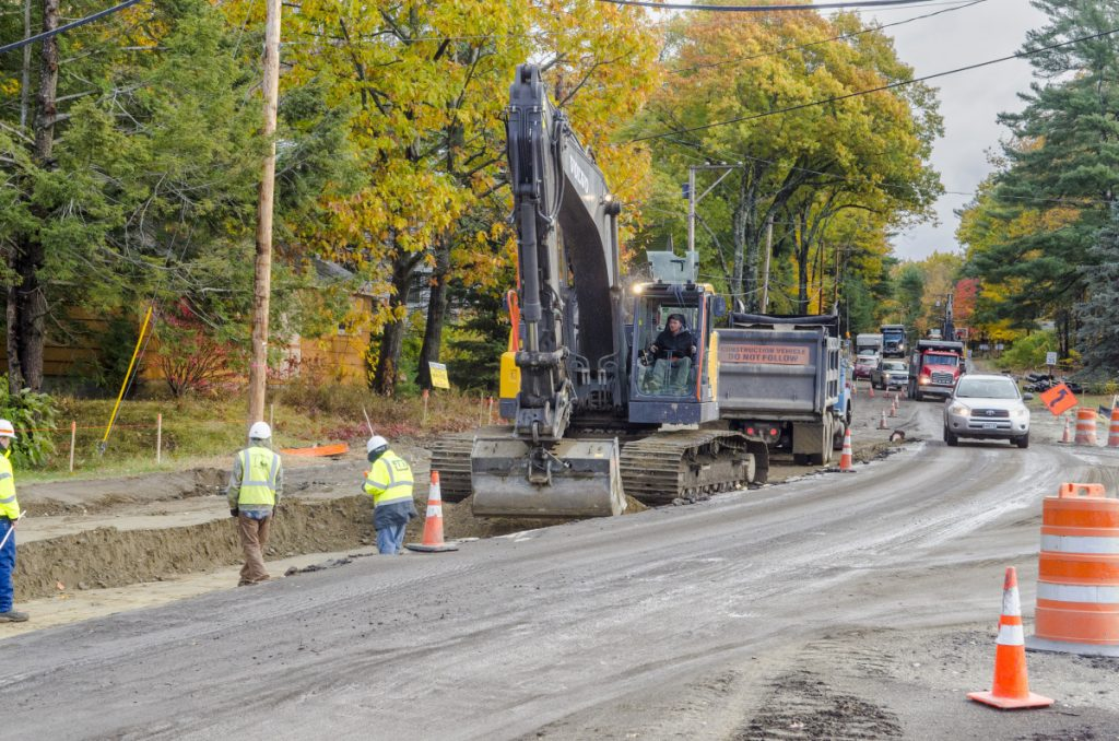 Traffic is compressed into one lane Oct. 24 around a construction zone on Route 27 near the West Road intersection in Belgrade Lakes village.