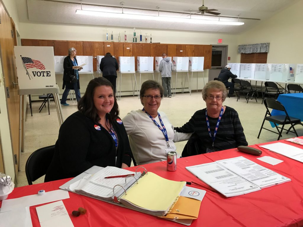 Clinton election clerks Jessica Harriman, Debbie Bickford and Joyce Lee had a busy day on Tuesday, which was Election Day.