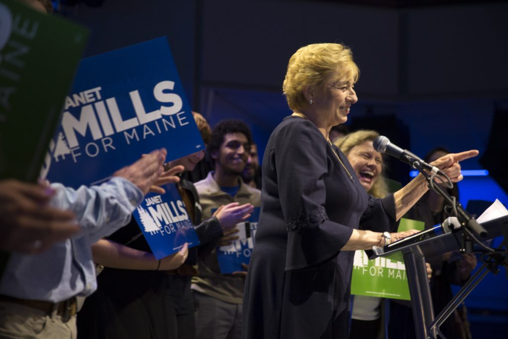 Newly elected governor Janet Mills gives her victory speech at the Maine Democrats election night party in Portland. She is the first woman elected to the office in Maine history.